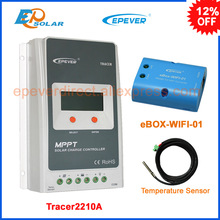 Tracer2210A solar controller with ebox WIFI module 20A 12V24V MPPT solar controller remote control in Android mobile phone+senso(China)