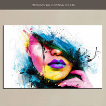 Wall Art For Large Fashion Painting Canvas Women Face Picture Abstract Figures Hand Painted Colorful Sexy Girl Oil Painting