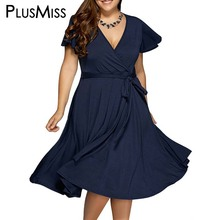 Plus Size 9XL 8XL 7XL 6XL Women Clothes Summer 2017 Sexy V Neck Dress Vintage Office Work Wear Midi Dress Oversize Sundress(China)
