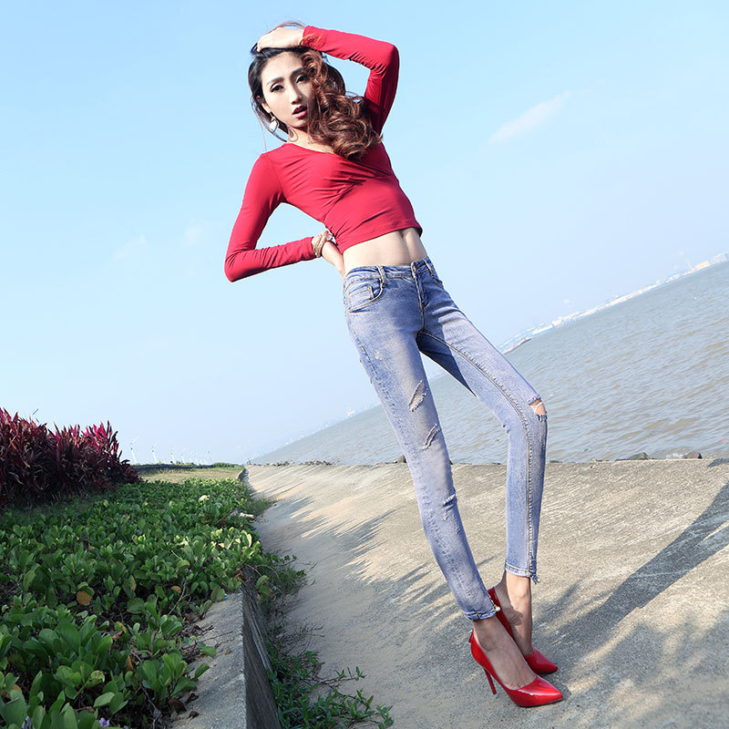 Top fashion 2017 summer plus size high quality elastic woman denim pants cotton button scratched zippers women jeans D76Одежда и ак�е��уары<br><br><br>Aliexpress