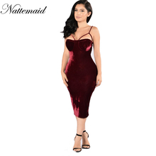 2016 New Year Red Velvet Dress for women Autumn Winter sexy sheath Strapless Bodycon dresses Clubwear costume Drop shipping