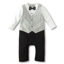 Newborn to 18M Cool Baby Kids Boy Bow Tie Tuxedo Suit Romper Jumpsuit Outfit