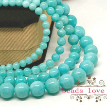 "wholesale 4 6 8 10 12mm Natural Blue Amazonite Round Beads 15"" Free Shipping-F00085"