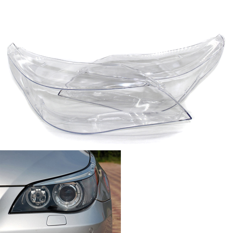 1 Pair Car Front Right + Left Headlight Clear Lens Cover Headlamp Shell For BMW 5 E60/E61
