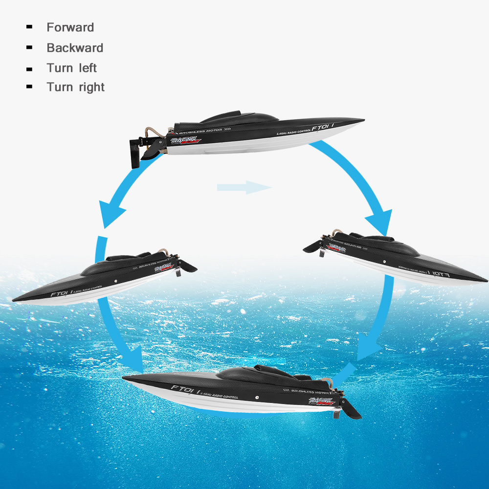 Feilun FT011 2.4G 55kmh High Speed RC Boat Racing Boat with Water Cooling Flipped Self-righting Function Ship Speedboat Toys (4)