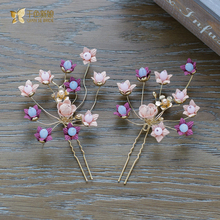 Fashion purple flower hair pins girl sweet hair sticks holiday honeymoon wedding accessories bride headpiece fascinator xirui(China)