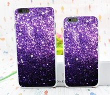 Black Fade to Purple Sparkly Bling Bling Style Hard White Cover Skin Back Case for iPhone 6 6s 6 plus
