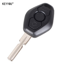 KEYYOU 3 BUTTON  UNCUT KEY REMOTE SHELL CASE Fit FOR BMW 3 5 7 SERIES Z3 Z4 X3 X5 M5 325i E38 E39 E46 WITH LOGO