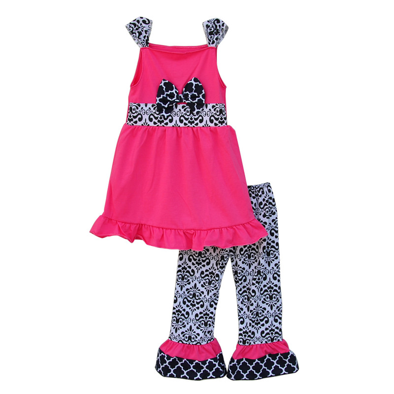 Pink Girls Clothing Set Vintage Floral Ruffle Pants Waist Bow Decor Puff Sleeveless Design Summer Toddler Kids Sets S039<br><br>Aliexpress