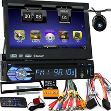 Camera with map car dvd gps player 1din universal GPS video Multimedia Bluetooth autoradio 1Din car gps navigation Car Radio DVD(China)