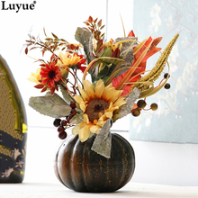 Luyue Official Store Pumpkin Sunflower Suit Festival Decoration Artificial Silk Flowers Halloween Decoration Bonsai(China)