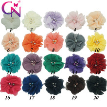 "20 Pcs/lot 2"" High Quality Fashion Handmade Boutique Cute Mini Beaded Chiffon Flower With Rhinestone For Kids Hair Accessories"