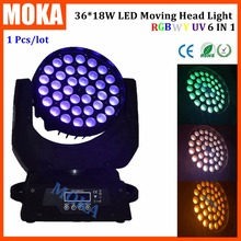 New Type 36*10w Led Zoom Moving Head Wash Light RGBWY UV 6 IN 1 DMX Control Disco Bar Light for Wedding Show Event