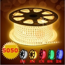 (100 Meter/lot)Waterproof 100M 220V 230V 240V 5050 Flexible led strip light Ribbon 60leds/m Red Green Blue Yellow White RGB+Plug