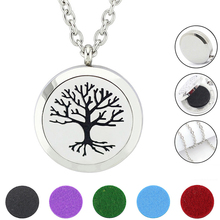 Free with Chain and Pads! Fashion Tree Design Perfume Locket Jewelry Silver 316L Stainless Steel Oil Diffuser Locket Necklace