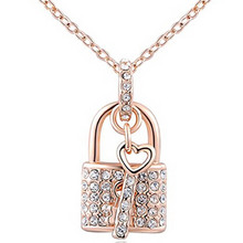 Fashion Brand Crystal Jewelry For Women Chain Cubic Zircon Accessiories Charm Lock & Key Necklaces & Pendants