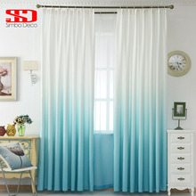 Modern Gradient Blue Cotton Curtains for Living Room Kids Bedroom Drapes Cloth Curtain Fabric Panel Window Custom Size Shades(China)