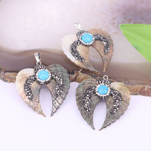 New Style ~8Pcs Angel Wing Shape Shell Pendant,Paved Stone Crystal Rhinestone Double Wing Shell Jewelry Pendants