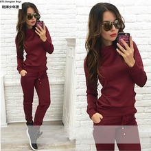 Spring Fall 2017 Women's Fashion Brand Velvet Fabric Tracksuits Velour Suit Track Suit Hoodies And Pants Plus Size Sweatshirts