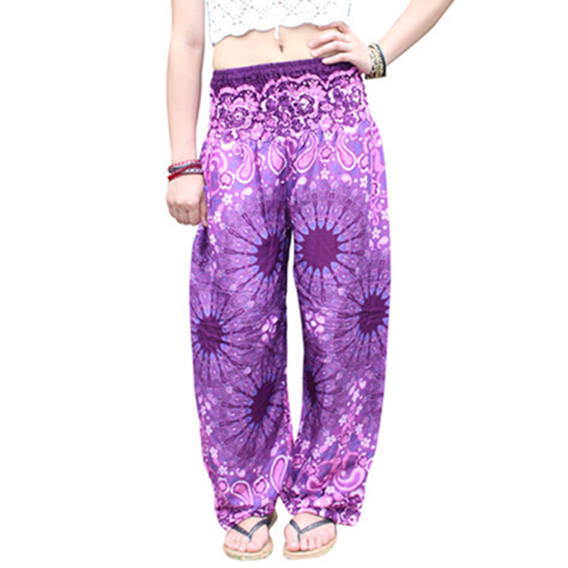 2018 New Indie Folk Women Long Pants Boho Baggy Hippie Female Harem Loose Printed Soft Elastic High Waist Bottom Trousers Gypsy