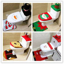 Eco Friendly Toilet Foot Pad Seat Cover Cap 3Pcs Christmas Decorations Happy Santa Toilet Seat Cover and Rug Bathroom Set(China)