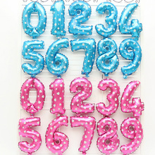 10pcs 16 inch Blue Balloon Number Foil Pink Balloons Digit Air Balls Child Birthday Balloons Wedding Party Decoration Balloon(China)