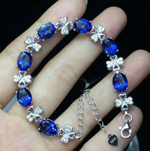 "100% 925 Sterling Silver Bracelet Stamped S925 Oval Real Natural Tanzanite Topaz Fine Women Jewelry with 7""+1""extension Chain(China)"