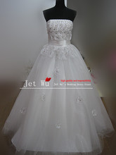 New arrival real sample beautiful a line beading sequin on tulle wedding dress 2014 from china manufacturer s044(China)