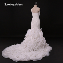 Buy New Designer Vintage White Organza Mermaid Wedding Dresses 2017 Court Train Crystals Lace Wedding Gowns Long Vestido de noiva for $210.00 in AliExpress store
