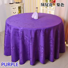 Purple colour jacquard table cloth damask pattern table cover for wedding hotel and round table linen decoration wholesale