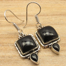 BLACK ONYX Gems Handmade Indian Jewellers Ethnic Style Earrings  Silver Plate 3.9 cm