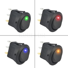 1PCS 12V SPST Switch LED Practical Dot Light Car Boat Round Rocker ON/OFF AC 6A/125V 3A/250V 4 Colors High Quality