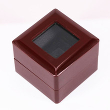 Factory wholesale price wooden one slot championship ring clear top display box (WITHOUT RING) 7*7*5.2(cm) drop shipping(China)