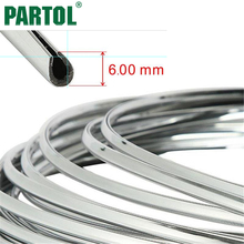 Partol 6mm Silver Chrome Car-Styling Moulding Strip Car Decoration Body Strip Bumper Auto Door Protective Trim Sticker For Truck(China)