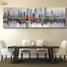 Direct from Artist JYJ ART Light Grey New York City Pic Hand Painted Modern Abstract Oil Painting on Canvas Wall Art Gift SL001