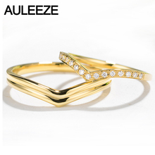 AULEEZE Unique V Shape Real Diamond Rings For Couple Lovers Ring 18K Solid Yellow Gold Natural Diamond Wedding Band(China)