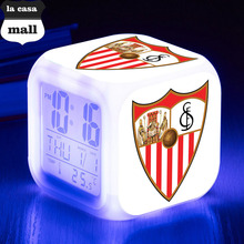 Sevilla Futbol Club LED Alarm Clock La Liga soccer/Football Fans 7 color Flash Digital clock Xmas Toys Gifts With USB Charger(China)