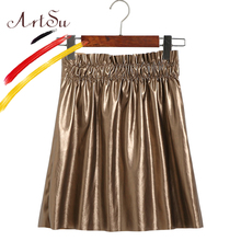 Buy ArtSu Europe Women PU Leather Mini Skirt Black Gold Elastic Waist Faldas 2017 Autumn High Waist Saia Pleated Skirts ASSK20101 for $13.40 in AliExpress store