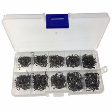 500 Pcs #3-#12 Black Fishing Fish hook Hooks Comes with Retail Carrying Box Fishing Tackle set(China)