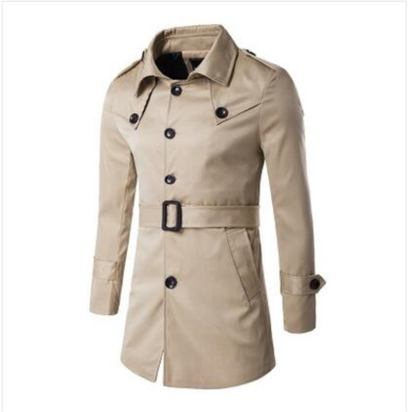 2017 Fashion Man Trench Coat High Quality Single-breasted Khaki Outerwear Manteau Homme Mens Casual Trench Coat Casaco Masculino
