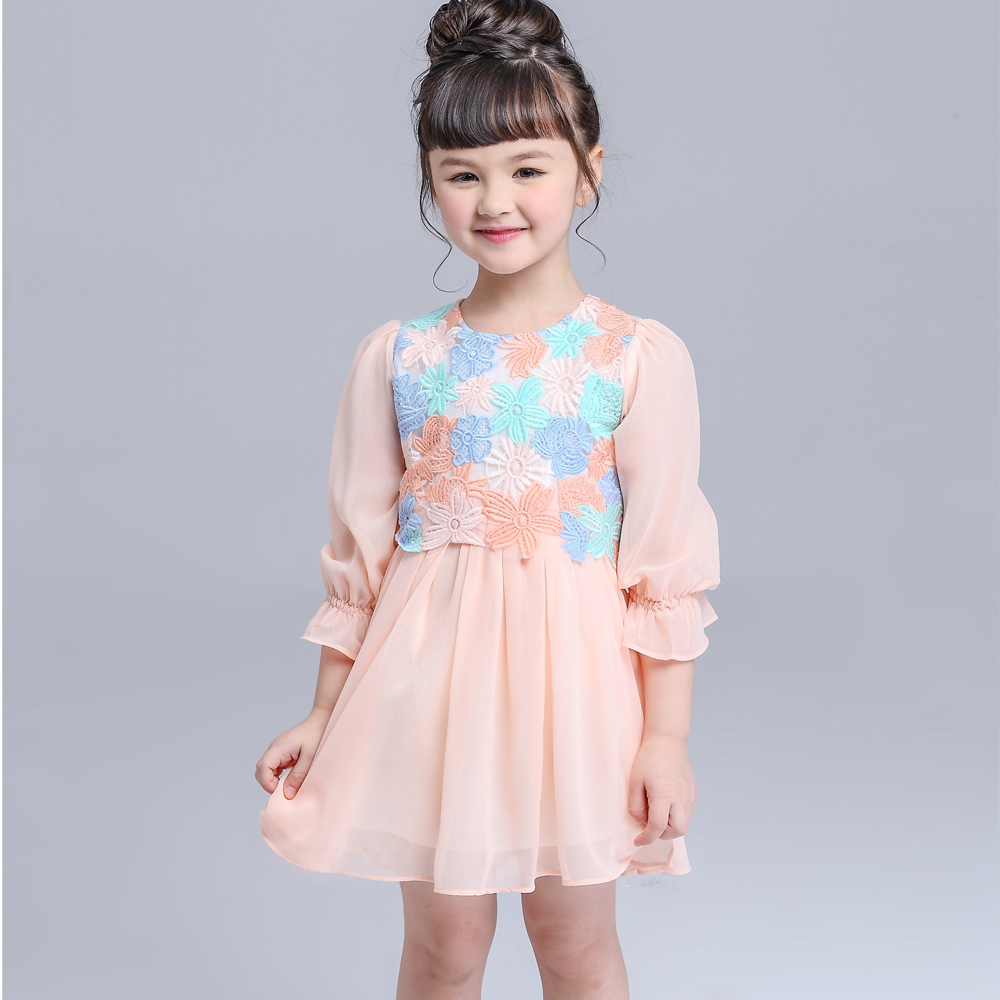 Fashion Lace Girls Summer Dress Kimocat Children Clothes with Beautiful Appliques<br>