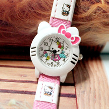 High Quality 10 Pieces/Lot KT Girls Leather Cartoon Watches Cute Cat Children Kids Quartz Fashion Wristwatches Factory Price(China)