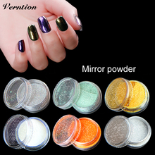 Verntion Art Chrome Magic Look Mirror Powder For Nail Gel Polish Metallic Silver Gold Pigment Nail Glitter holographic powder