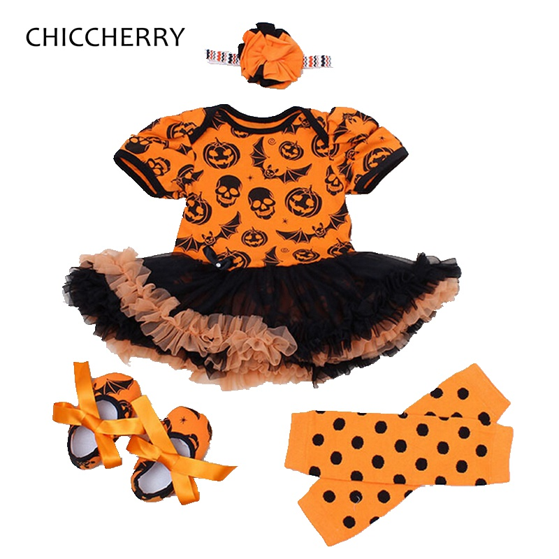 Pumpkin Baby Halloween Costume Lace Romper Dress Headband Leg Warmers Shoes Newborn Tutu Sets Baby Girl Clothes Infant Clothing<br><br>Aliexpress