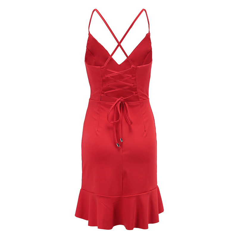 Nadafair Red Black Backless V Neck Lace-up Sexy Bodycon Club Party Dress 2018 New Women Summer Casual Strap Dress 10