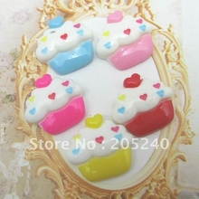 30pcs/Lot Kawaii Resin Cupcake Cabochons Botoes De Resina Flat Back Lovely Resin Food For DIY Decoration with 10 Deisgns(China)