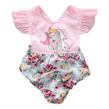 Buy Infant Baby Girl Floral Unicorn Romper Jumpsuit Outfit Sunsuit Playsuit Children Toddler Girls Summer Flower Patchwork Rompers for $3.44 in AliExpress store