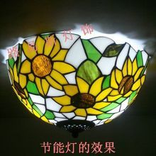 Yellow sunflowers American Art ceiling Tiffany rural children room study bedroom balcony mosaic glass lighting lamps(China)