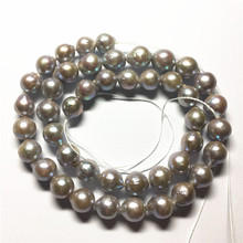 "wholesales 8-9MM Genuine Freshwater Natural pearl Silver Gray  reborn keshi 16"" Necklace Loose beads"