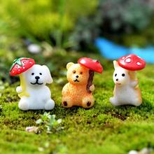 Micro-landscape ornaments landscape crafts DIY resin ornaments three umbrella animals potted decoration ornaments A20